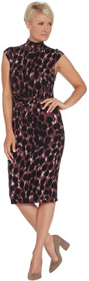 Lisa Rinna Collection Mock-Neck Twist Front Dress
