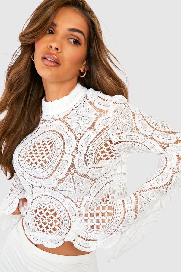 boohoo roll/polo neck Crochet Lace Crop