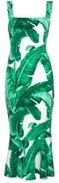 Dolce & Gabbana Banana leaf-print fluted-hem dress