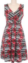 Red & Black Floral Stripe Bergman Surplice Dress