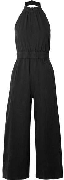 Apiece Apart Archer Open-back Cropped Cotton Jumpsuit - Black
