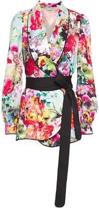 Mary Katrantzou Tie-front Floral-print Satin-twill Blazer