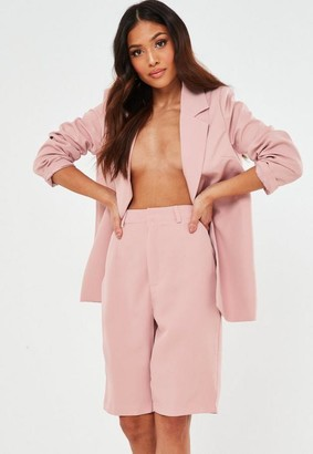 Missguided Petite Pink Co Ord Tailored Long Shorts
