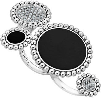 Lagos Maya Onyx/Diamond Two-Finger Ring, Size 7