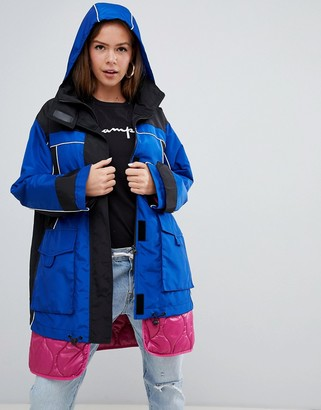Asos Design DESIGN hybrid parka with quilted liner-Blue