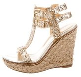 Stuart Weitzman Sequined T-Strap Wedges