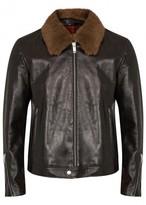 Alexander Mcqueen Dark Brown Shearling-trimmed Leather Jacket