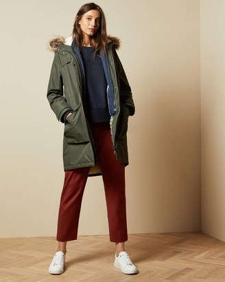 Ted Baker Padded Parka With Faux Fur Hood