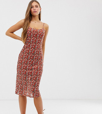 Glamorous midi cami dress in ditsy floral-Red