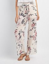 Charlotte Russe Floral Tie-Front Palazzo Pants