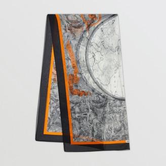Burberry Map Print Silk Chiffon Scarf