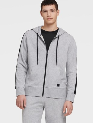 DKNY Men's Zip Hoodie With Logo Elastic Taping - Pearl Grey Heather - Size XXL