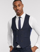 Harry Brown slim fit navy tonal grid check waistcoat
