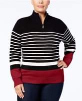 Karen Scott Plus Size Cotton Striped Half-Zip Sweater, Created for Macy's