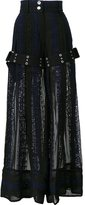 Sacai calligraphy embroidered palazzo pants - women - Cotton/Polyester - 2