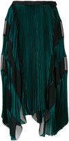Sacai asymmetric striped pleated skirt - women - Polyester/Cupro/Rayon - 1