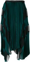 Sacai asymmetric striped pleated skirt