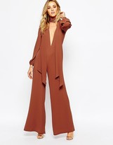 Glamorous Tie Neck Jumpsuit with Wide Leg