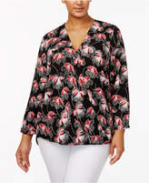 Alfani Plus Size Printed Surplice Blouse, Only at Macy's