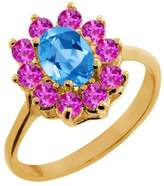 Gem Stone King 1.30 Ct Oval Swiss Blue Topaz Pink Sapphire 18K Yellow Gold Ring