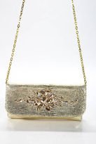 Ted Rossi Gold Leather Metallic Jeweled Rhinestone Small Clutch Handbag