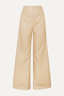 ANNA MASON Beau Metallic Crepe Wide-leg Pants - Tan