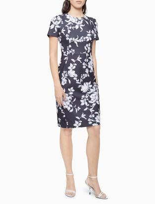 Calvin Klein Floral Short Sleeve Sheath Dress