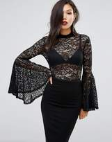 Club L Lace Bodysuit with Exaggerated Sleeves