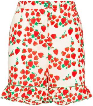 Helmstedt Ruffled Strawberry-Print Shorts