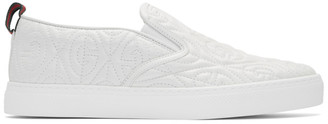 Gucci White G Rhombus Slip-On Sneakers
