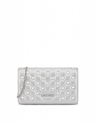 Love Moschino Evening Bag With Heart Studs Woman Silver Size U It - (one Size Us)