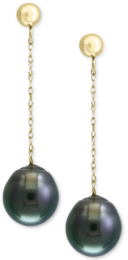 Effy Pearl by Cultured Black Tahitian Pearl (9mm) Drop Earrings in 14k Gold