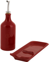 Emile Henry Oil Cruet & Spoon Rest Set - Red