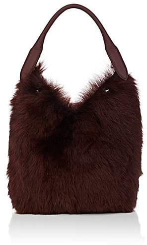 Anya Hindmarch Women's Small Shearling & Leather Bucket Bag - Claret