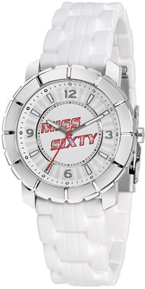 Miss Sixty Ladies Watch Sij004 in Collection Star 3 H and S White Dial and White Strap
