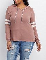 Charlotte Russe Plus Size Varsity Stripe Hoodie