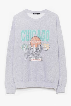 Nasty Gal Womens See Ya on the Court Basketball Graphic Sweatshirt - Grey - S