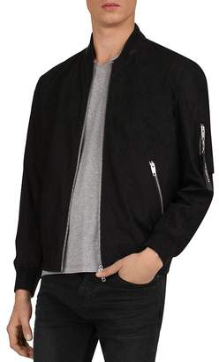 The Kooples Cotton Bomber Jacket with Leather-Trimmed Collar