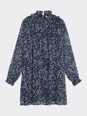 Tommy Hilfiger Ruffled Collar Floral Dress