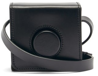 Lemaire Camera Mini Leather Cross-body Bag - Black
