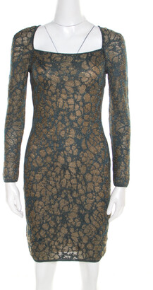 M Missoni Blue Floral Jacquard Lurex Knit Long Sleeve Cross Back Mini Dress S