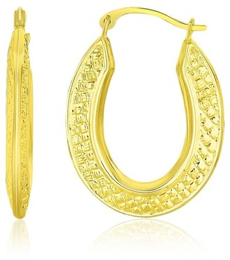 Mayamila 10k Yellow Gold Woven Texture Oval Shape Hoop Earrings