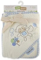Triboro Just Born Naturals Hooded Towel and Washcloth Set - Blue Monkey 52560L