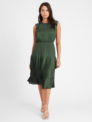 Banana Republic Satin Pleated Midi Dress