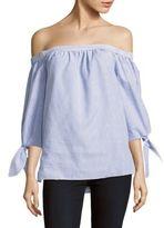 BCBGMAXAZRIA Striped Off-The-Shoulder Cotton Top