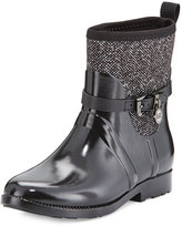 MICHAEL Michael Kors Charm Stretch Short Rain Boot, Black/White
