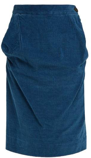 Vivienne Westwood Twisted Corduroy Pencil Skirt - Womens - Blue