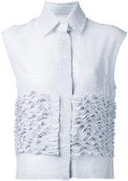 Steven Tai Ruffle Stuck sleeveless shirt