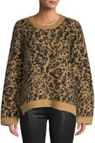 Madewell Pullover Crew Neck Leopard-Print Sweater