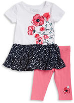 Flapdoodles Girls 2-6x Floral Dress and Leggings Set